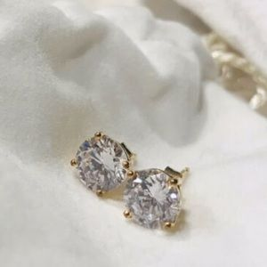 Cubic Zirconia Earrings Round Solitaire Stud